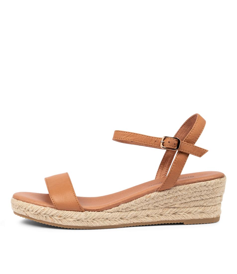 Buy Django & Juliette Shielay Djl Dk Tan Natural Rope Heeled Sandals online with free shipping