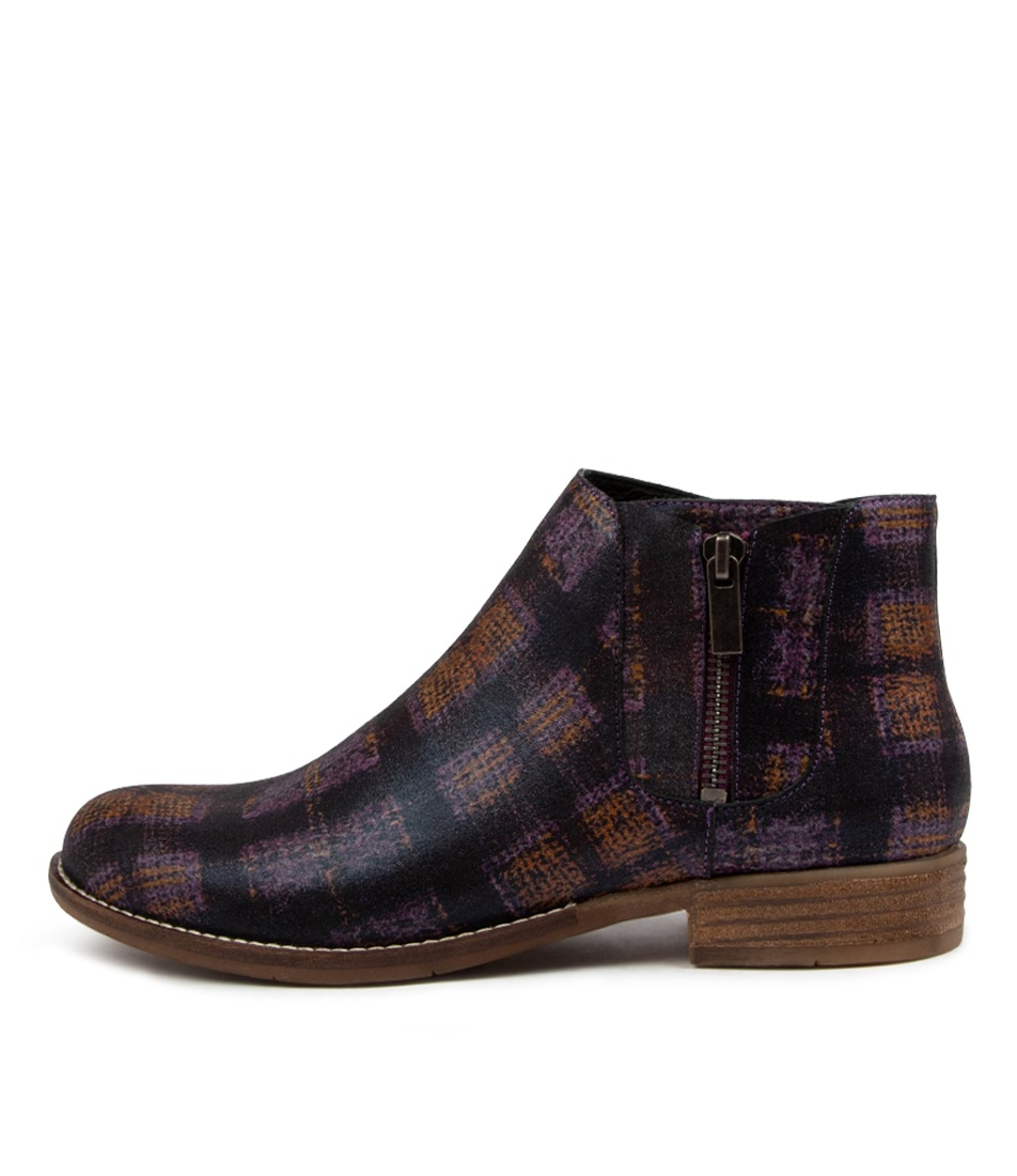 Buy Django & Juliette Carin Dj Purple Tartan Ankle Boots online with free shipping