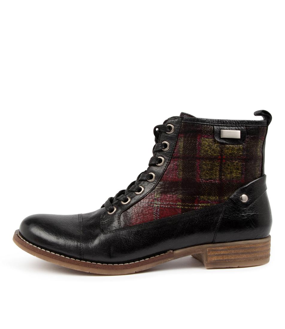 Buy Django & Juliette Cyrus Dj Black Shiraz Tartan Ankle Boots online with free shipping