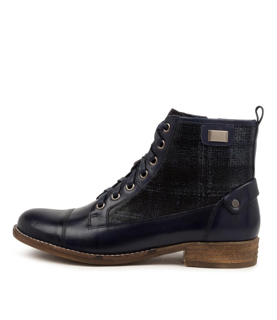 Buy Django & Juliette Cyrus Dj Blue Blue Tartan Ankle Boots online with free shipping