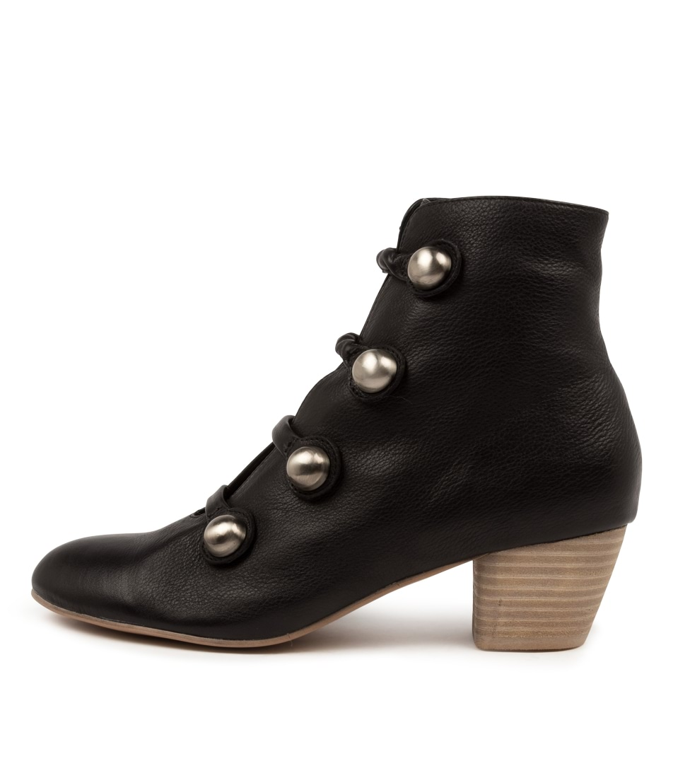 Buy Django & Juliette Donte Dj Black Natural Heel Ankle Boots online with free shipping