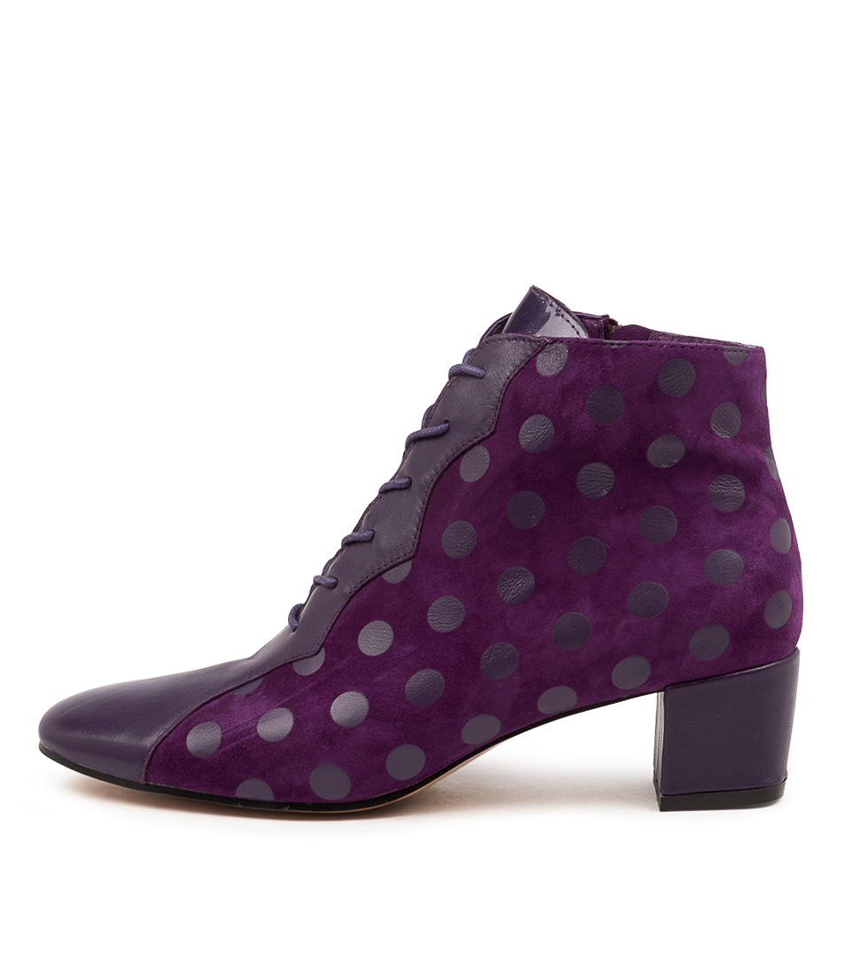 Buy Django & Juliette Harlany Dj Purple Dot Ankle Boots online with free shipping