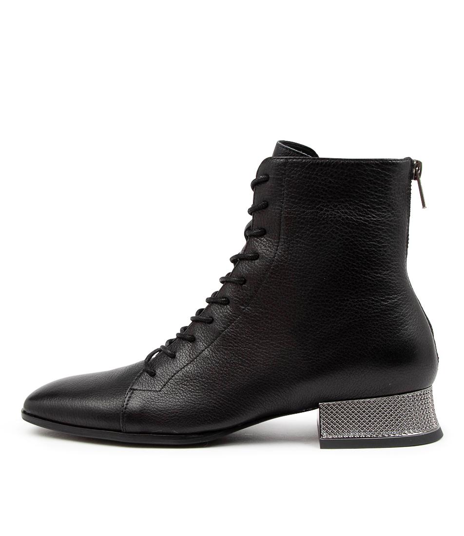 Buy Django & Juliette Karlis Dj Black Pewter Heel Ankle Boots online with free shipping