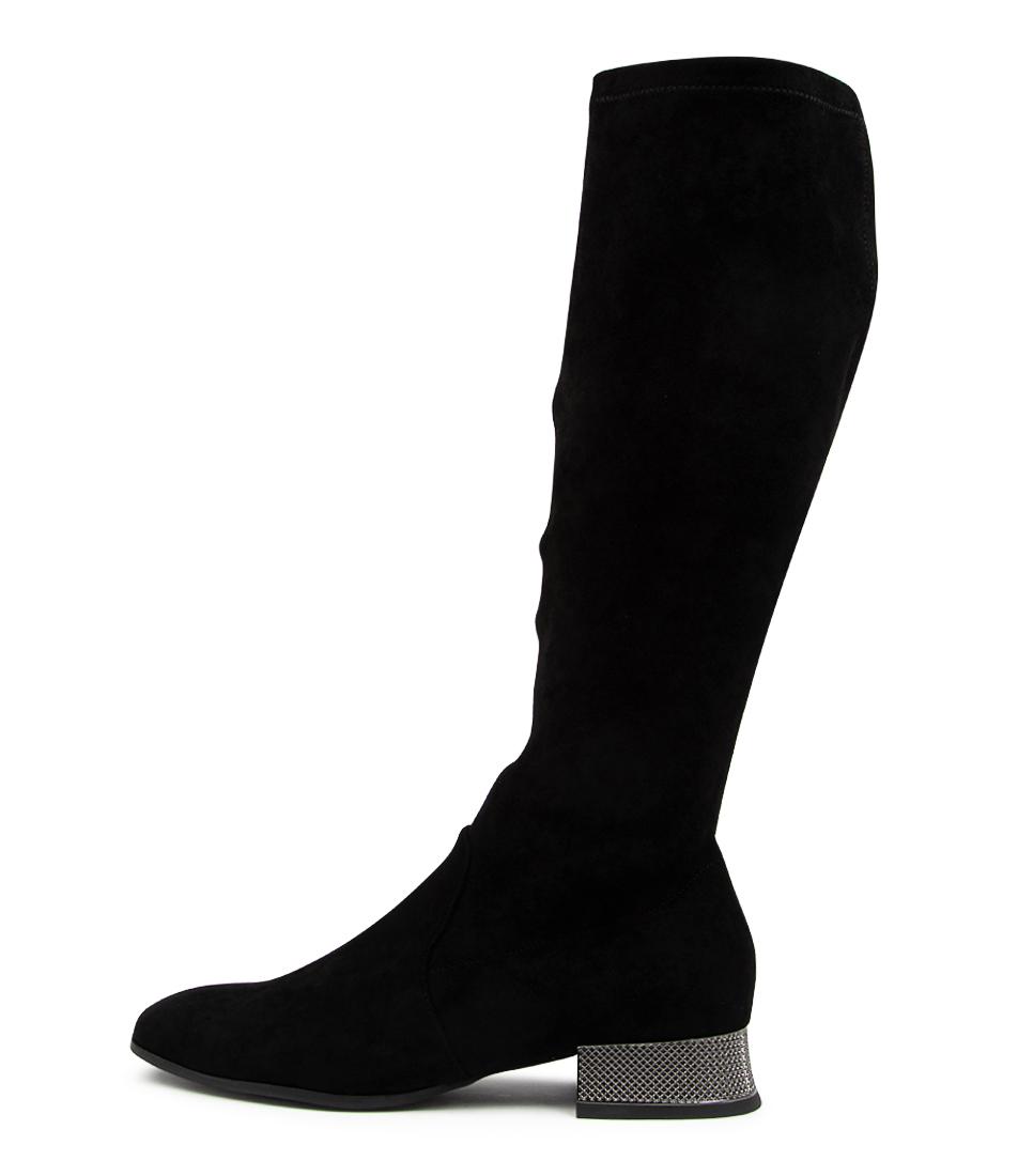 Buy Django & Juliette Kelsi Dj Black Pewter Heel Long Boots online with free shipping