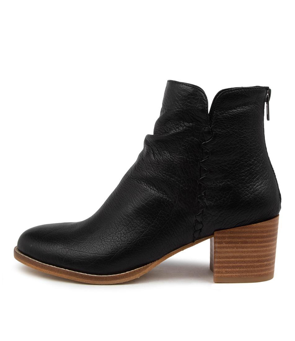 Buy Django & Juliette Millie Dj Black Natural Heel Ankle Boots online with free shipping
