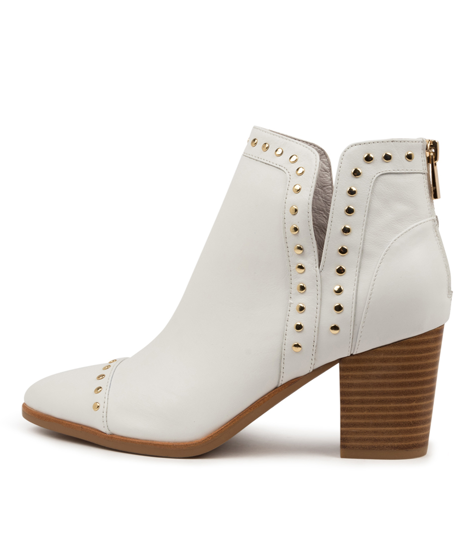 Buy Django & Juliette Tayla Dj White Natural Heel Ankle Boots online with free shipping