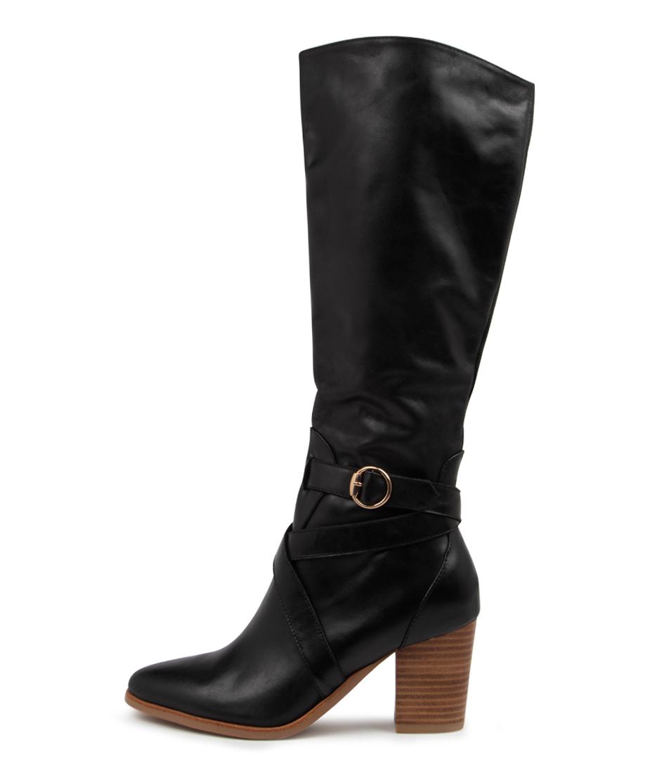 Buy Django & Juliette Tess Dj Black Natural Heel Long Boots online with free shipping