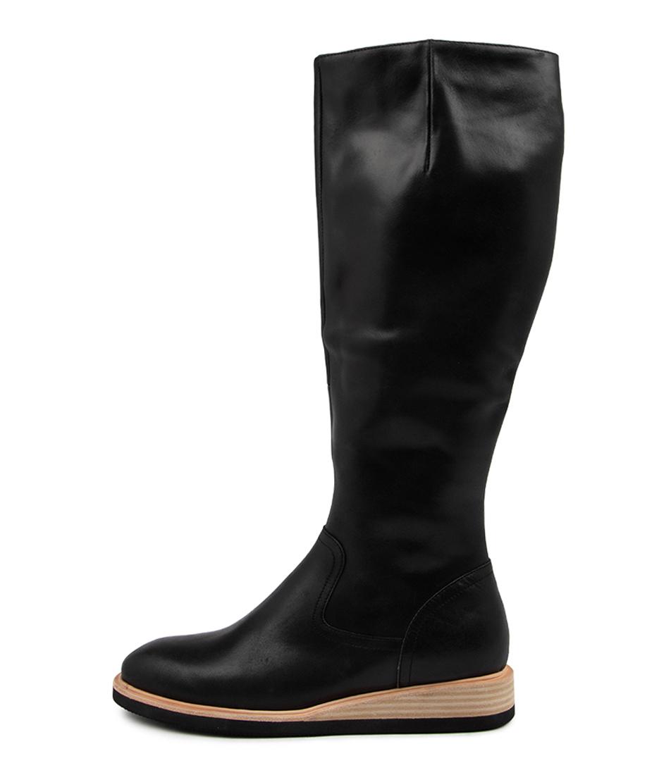 Buy Django & Juliette Valli Dj Black Natural Heel Long Boots online with free shipping