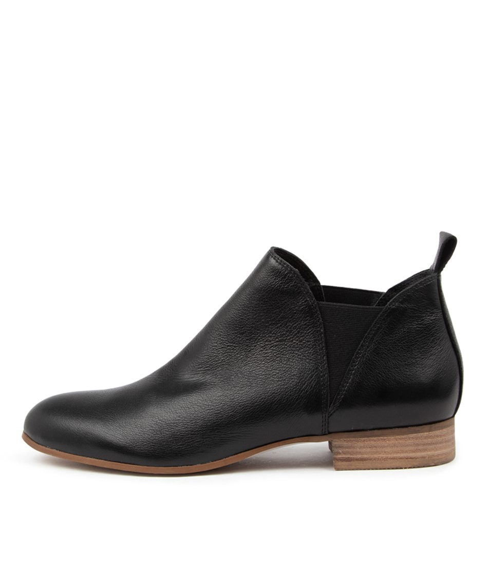 Buy Django & Juliette Foe Lrg Black Natural Heel Ankle Boots online with free shipping