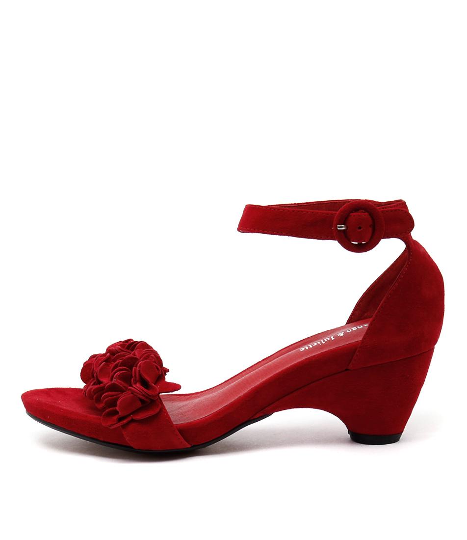 Django & Juliette Zirconia Red Dress Heeled Sandals