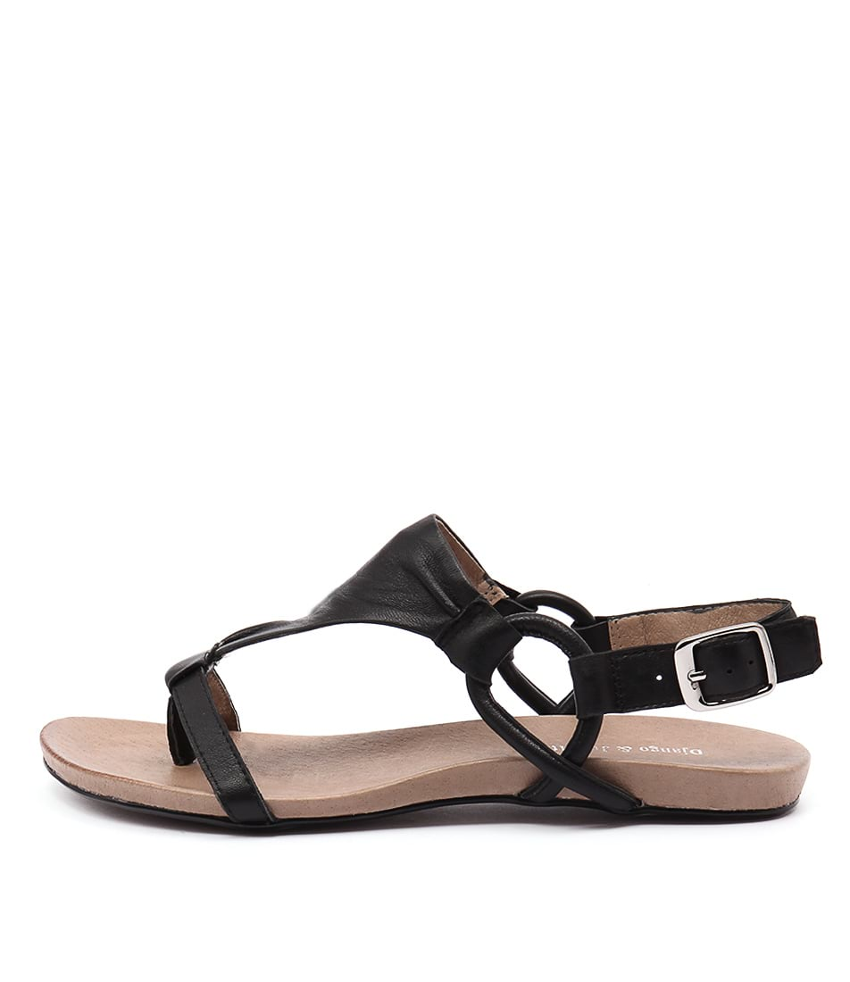 Django & Juliette Bingham Black Casual Flat Sandals