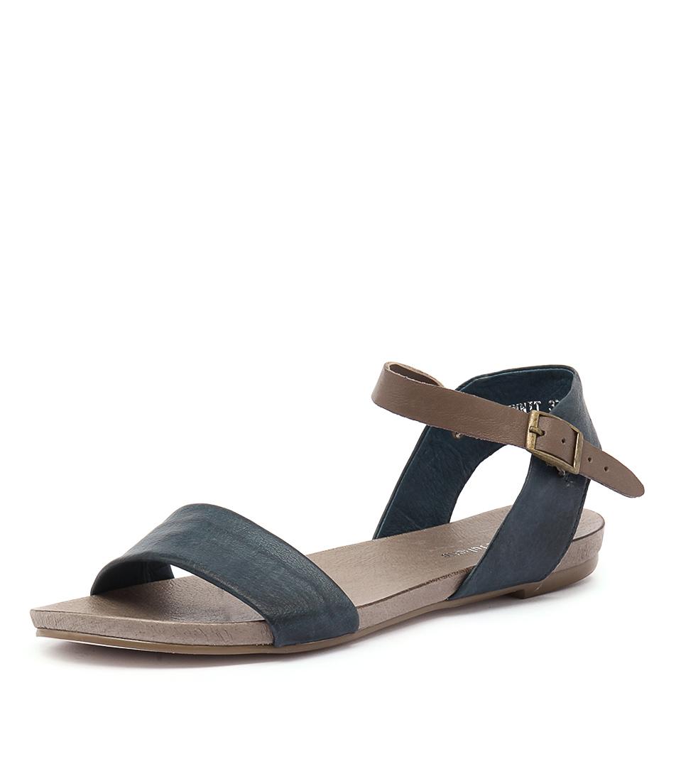 New Django & Juliette Jinnit Navy Taupe Womens Shoes Casual Sandals Sandals  Flat