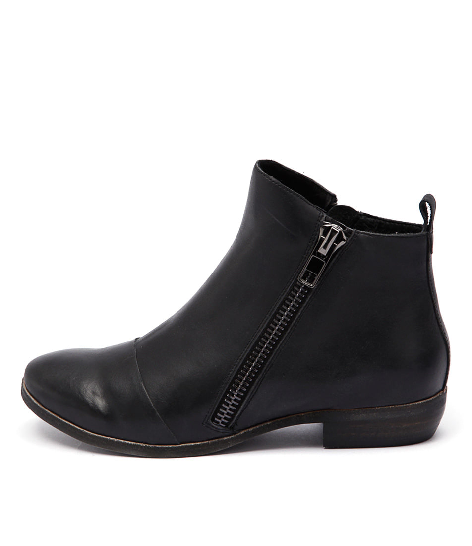 Django & Juliette Oba Black Casual Ankle Boots