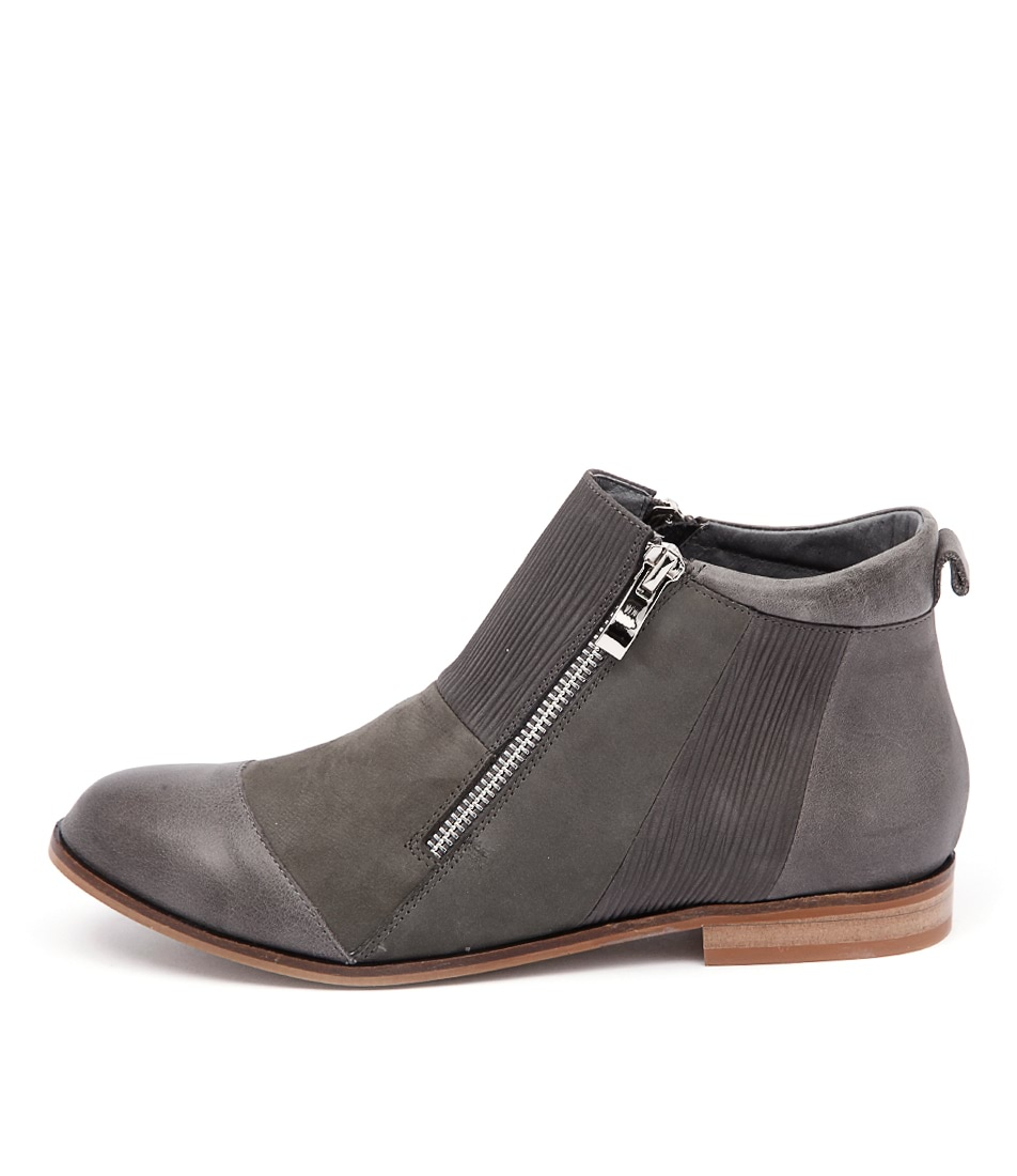 Django & Juliette Pooli Charcoal Mix Casual Ankle Boots