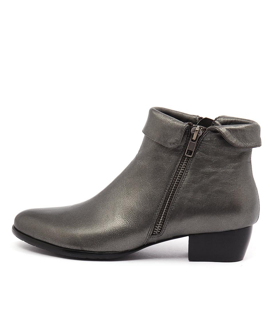 Django & Juliette Twinzip Pewter Casual Ankle Boots