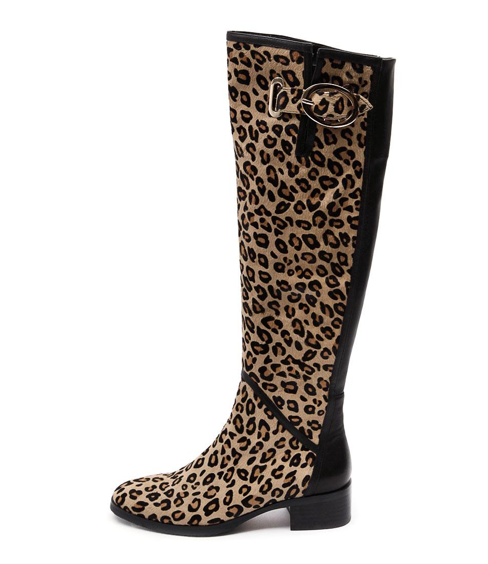Django & Juliette Tamiladj Ocelot Black Casual Long Boots