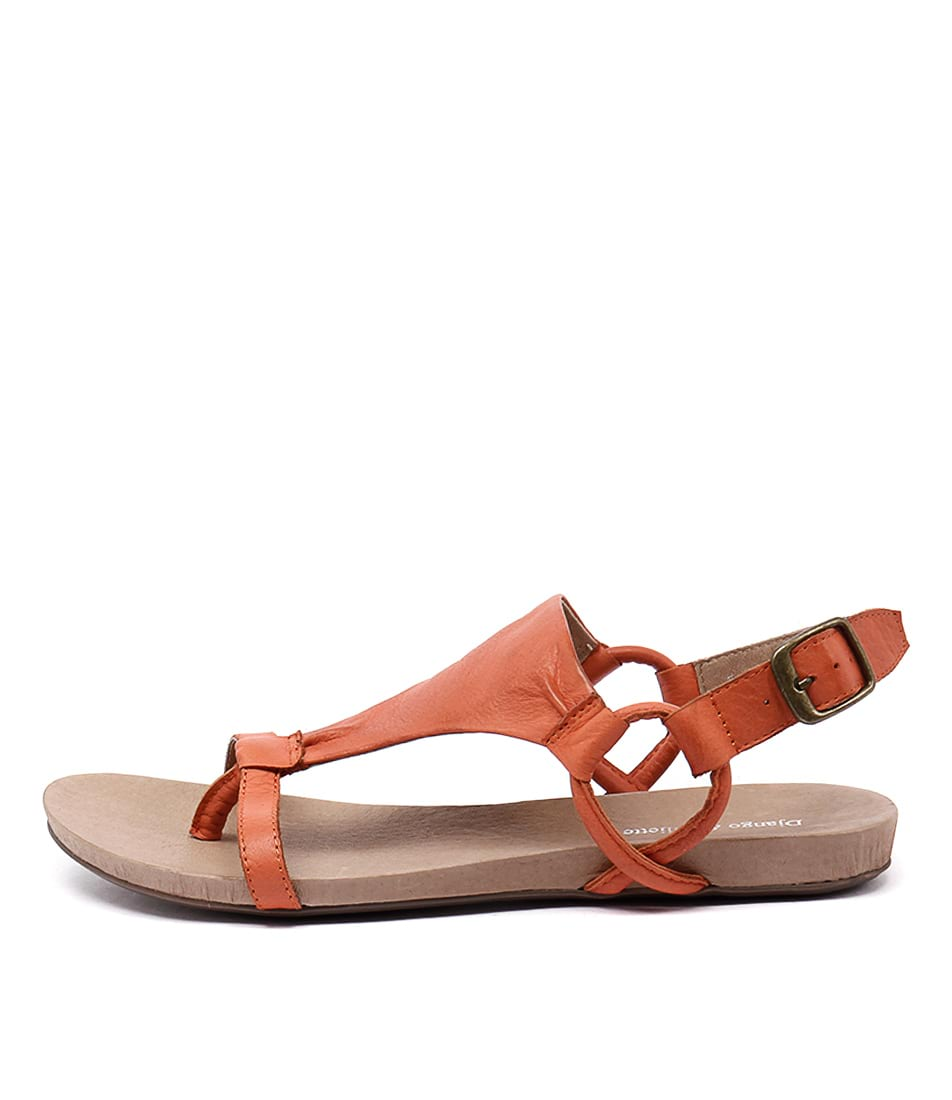 Django & Juliette Bingham Orange Casual Flat Sandals