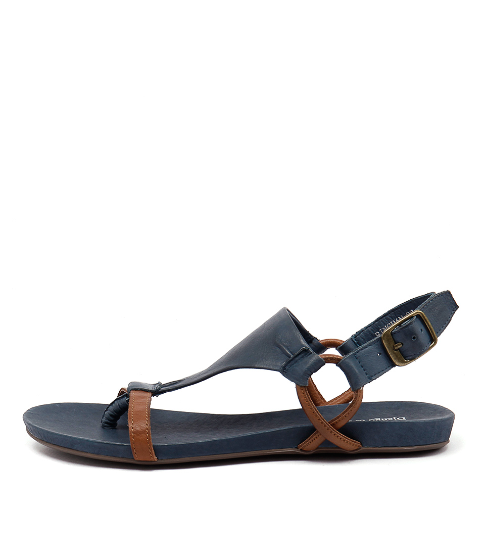 Django & Juliette Bingham Tan Denim Casual Flat Sandals
