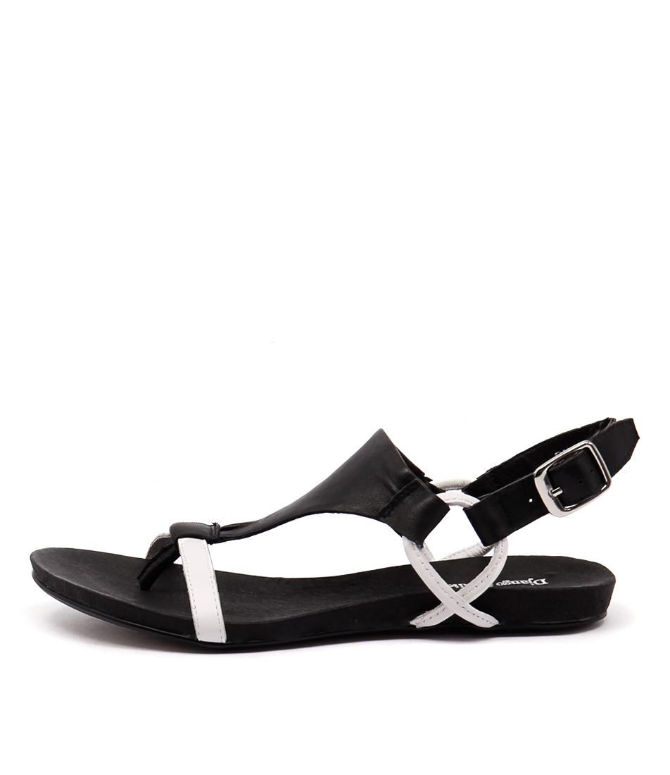 Django & Juliette Bingham White Black Casual Flat Sandals