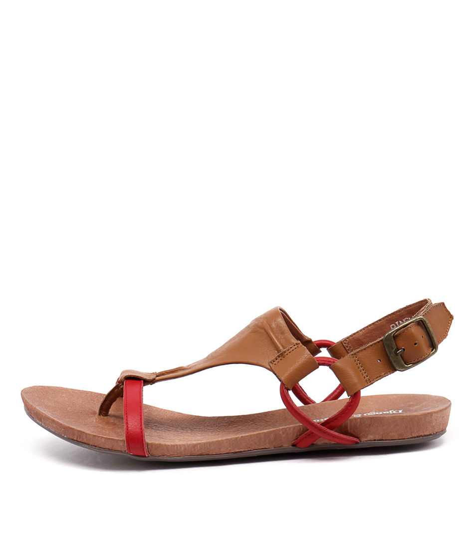 Django & Juliette Bingham Red Tan Casual Flat Sandals