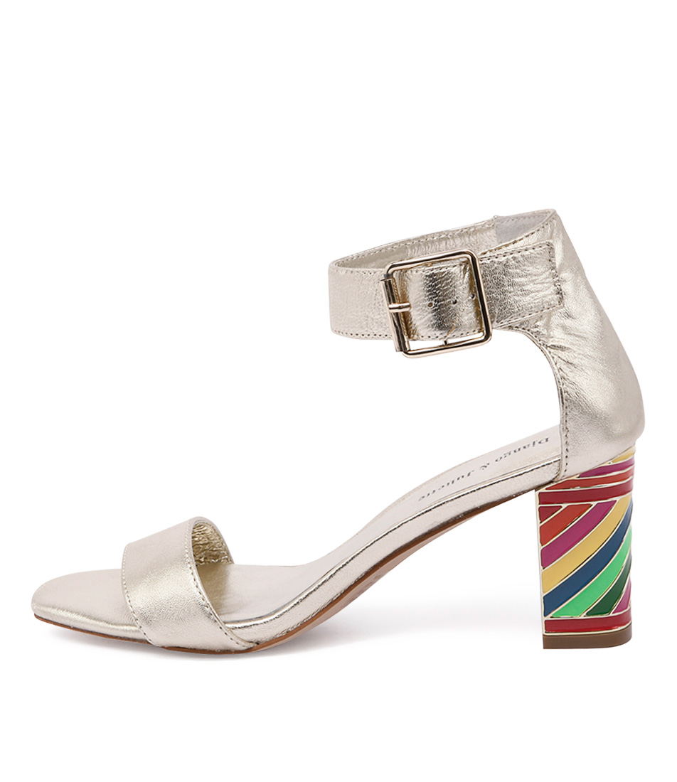 Django & Juliette Nancie Gold Casual Heeled Sandals