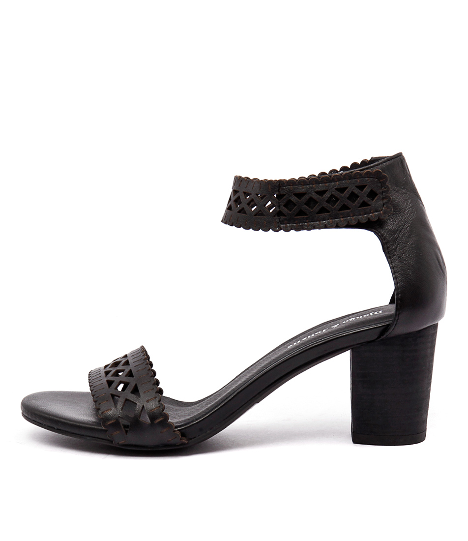 Django & Juliette Cajun Black Dress Heeled Sandals