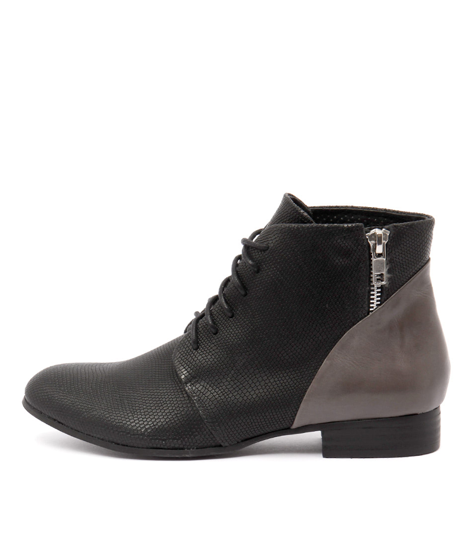 Django & Juliette Fables Black Grey Ankle Boots
