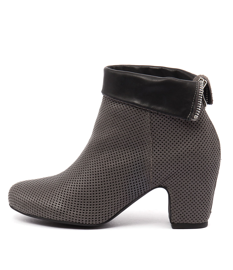 Django & Juliette Giged Grey Black Ankle Boots