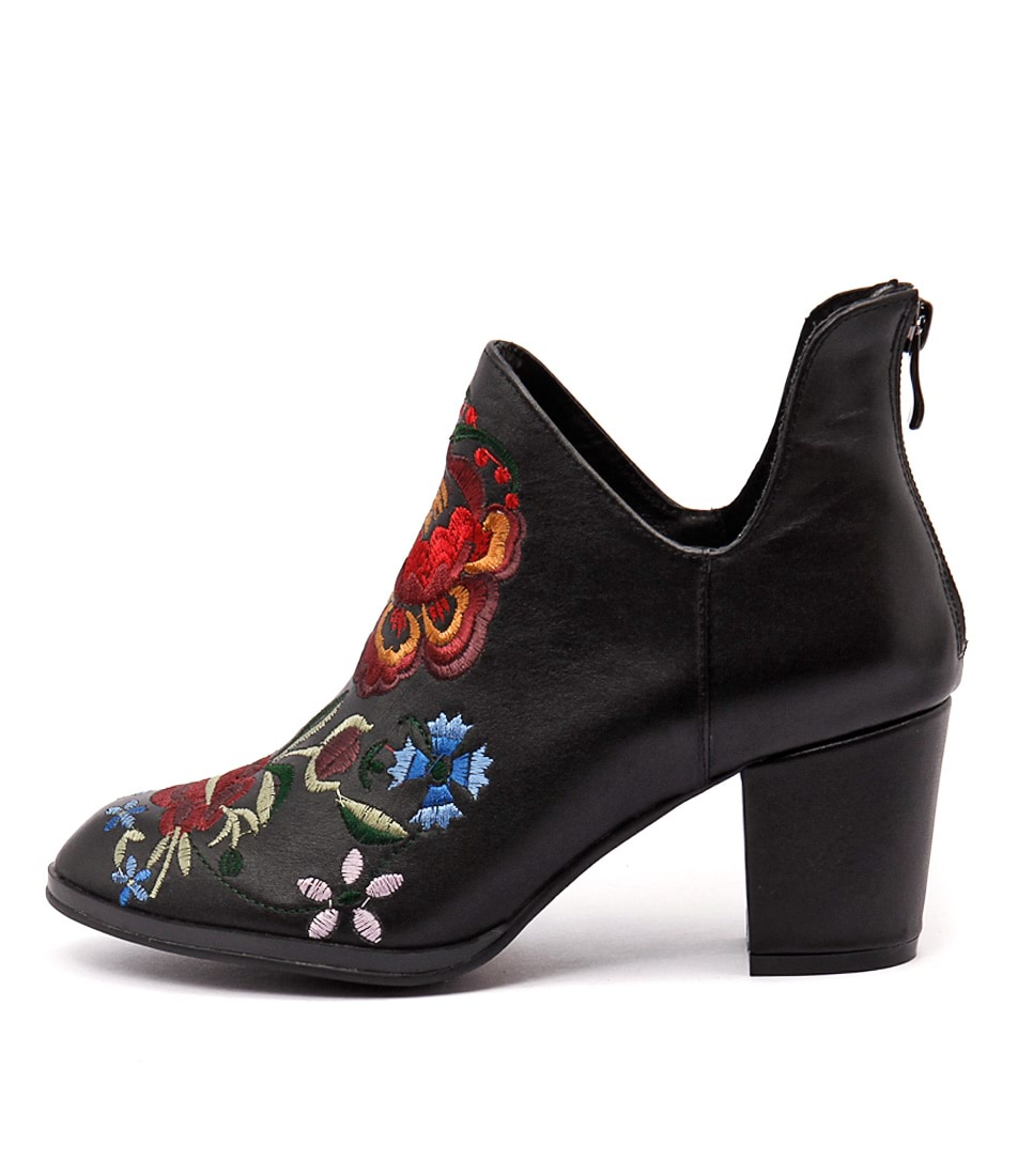 Django & Juliette Jaycon Black Embroidery Casual Ankle Boots