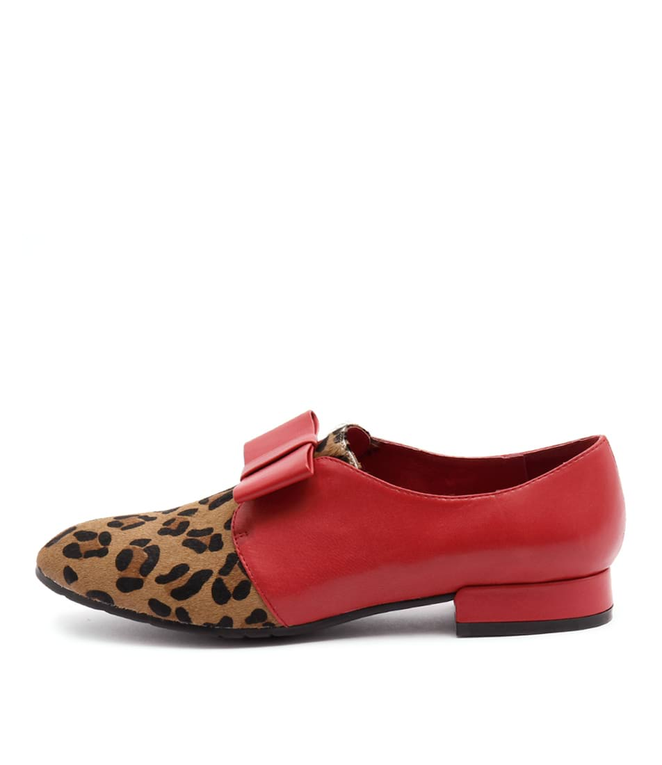 Django & Juliette Kandana Ocelot Red Dress Flat Shoes