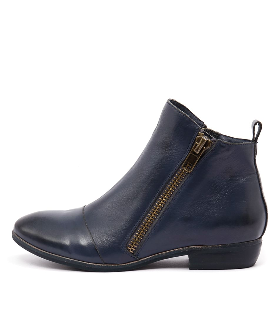 Django & Juliette Oba Light Navy Ankle Boots