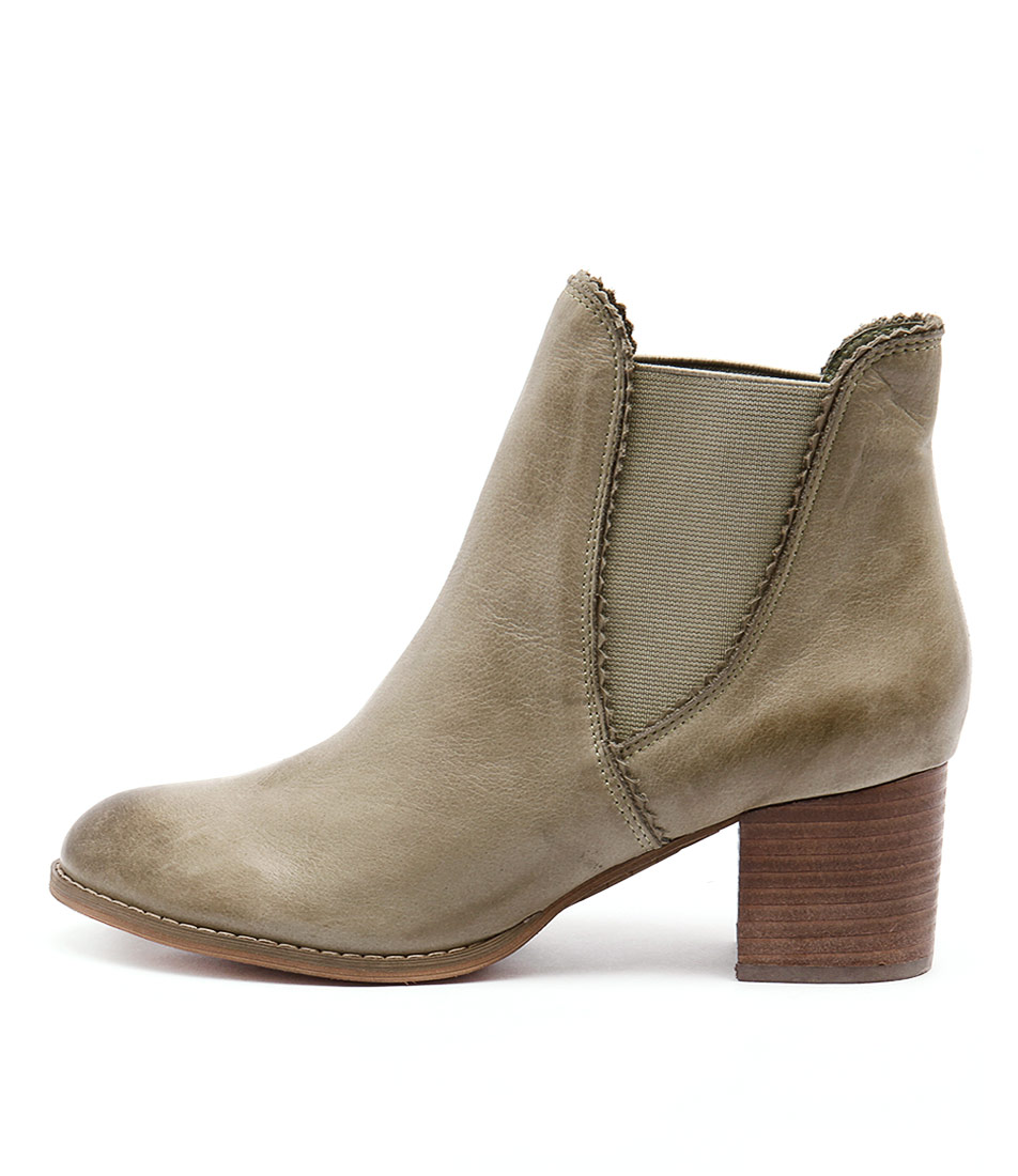 Django & Juliette Sadore Khaki Dress Ankle Boots