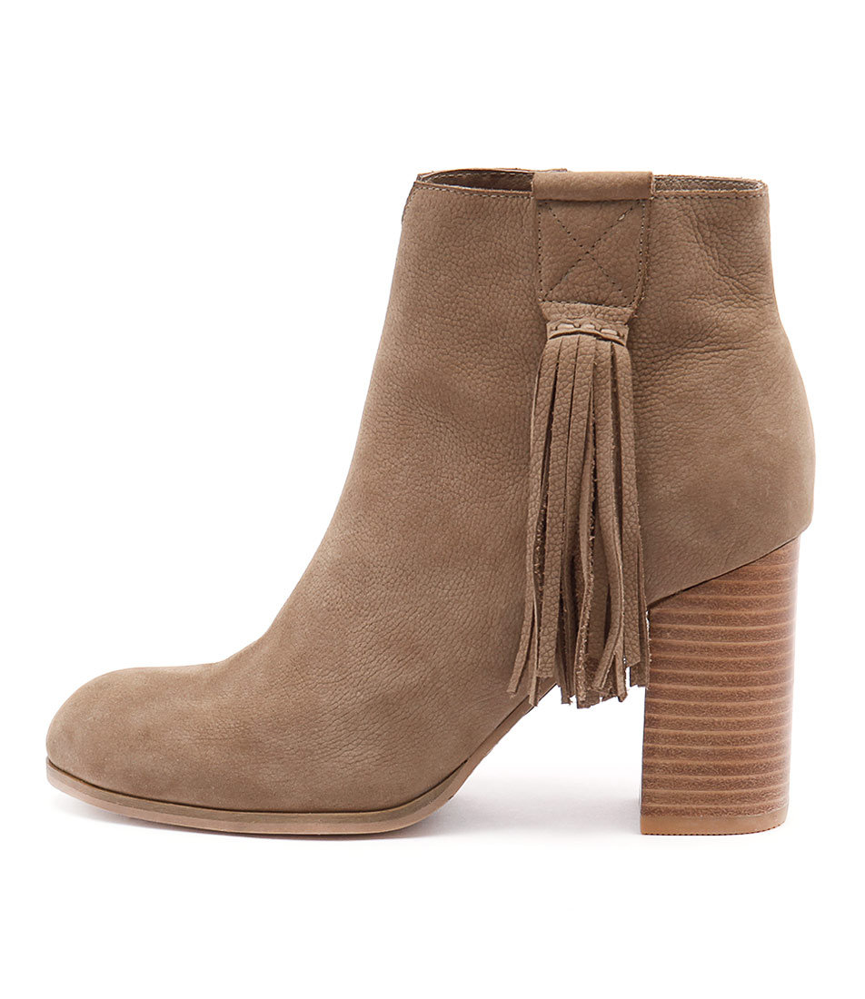 Django & Juliette Scuttle Taupe Dress Ankle Boots