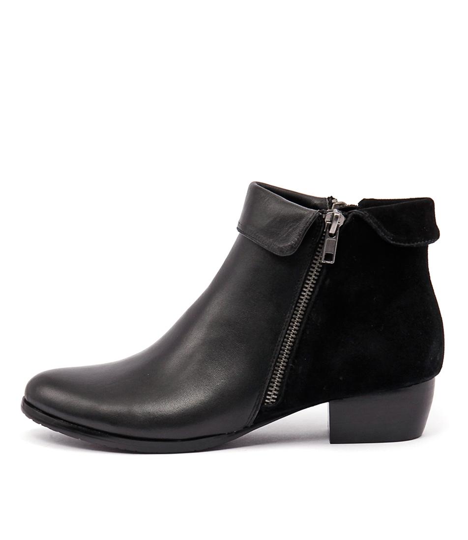 Django & Juliette Twinzip Black Casual Ankle Boots