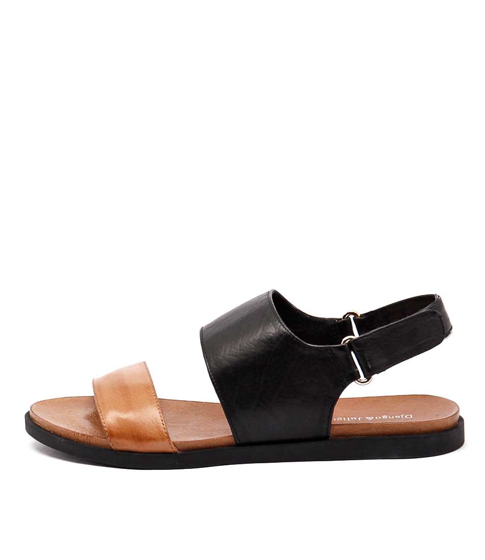 Django & Juliette Harlem Tan Black Black Sole Casual Flat Sandals