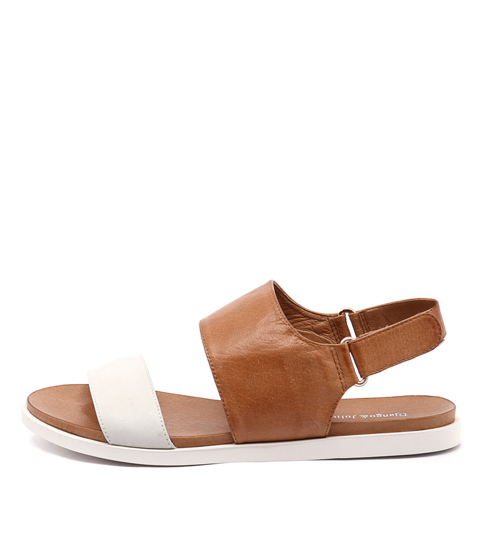 Django & Juliette Harlem White Tan White Sole Sandals