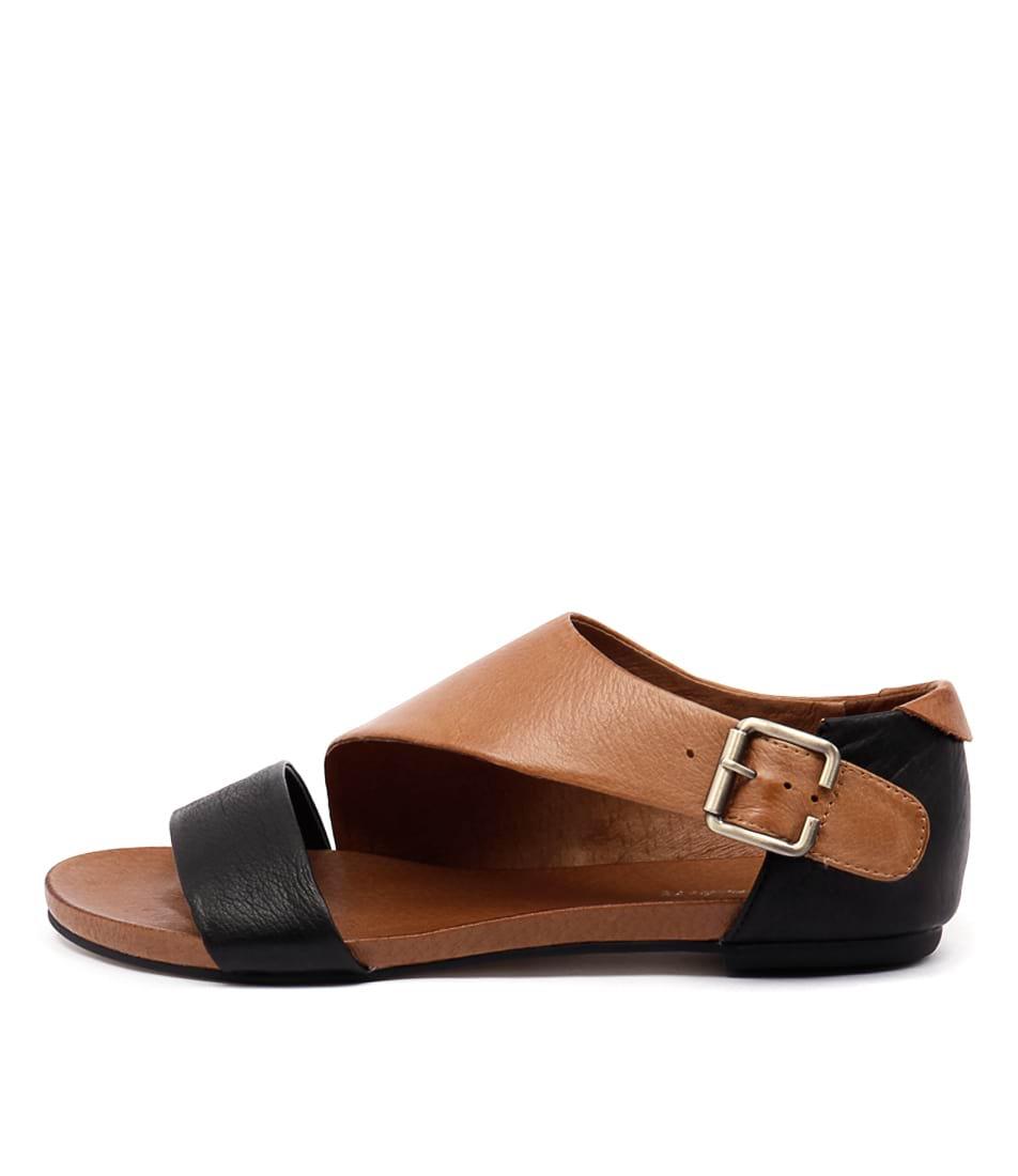Django & Juliette Jimini Black Tan Casual Flat Sandals