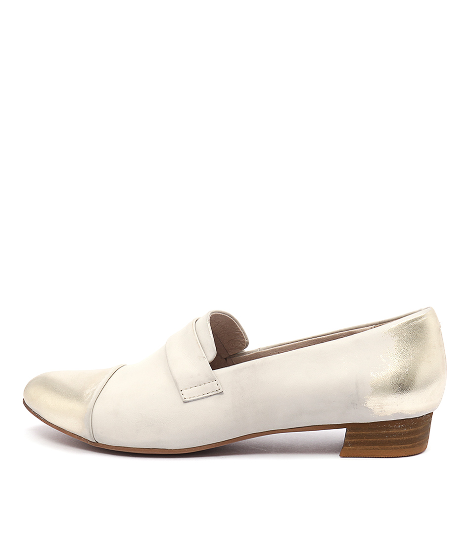 Django & Juliette Ebron Beige Gold Dress Flat Shoes