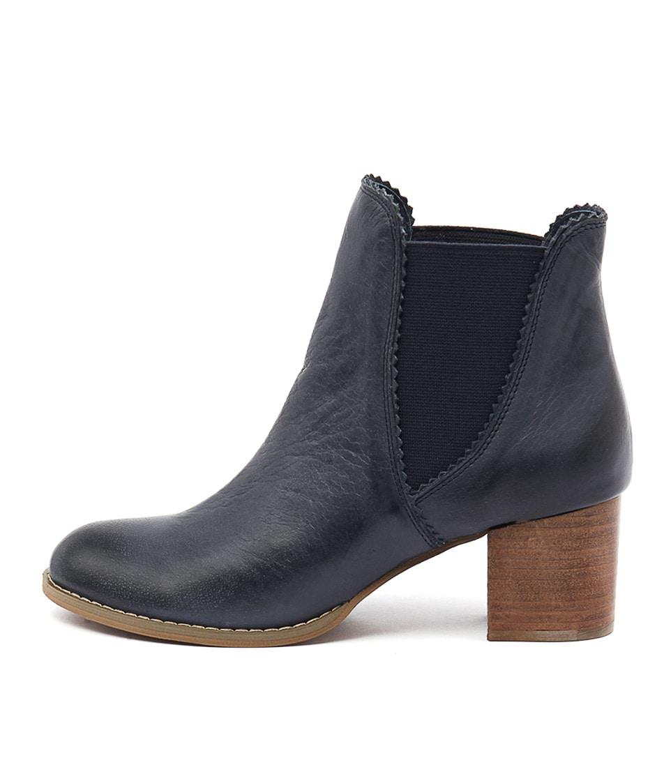 Django & Juliette Sadore Navy Boots Ankle Boots