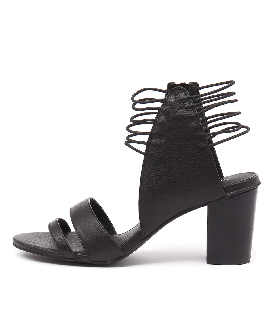 Django & Juliette Ann Black Casual Heeled Sandals