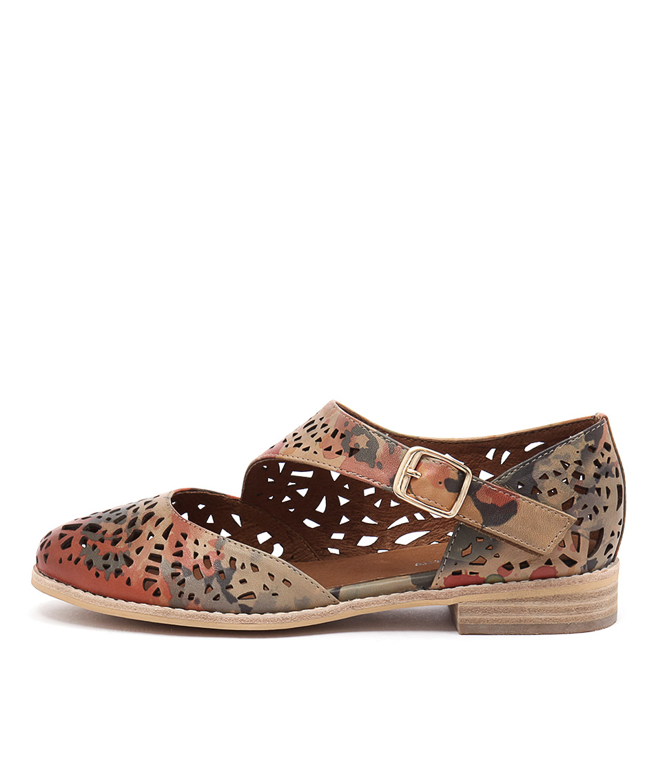 Django & Juliette Amore Camel Multi Flat Shoes