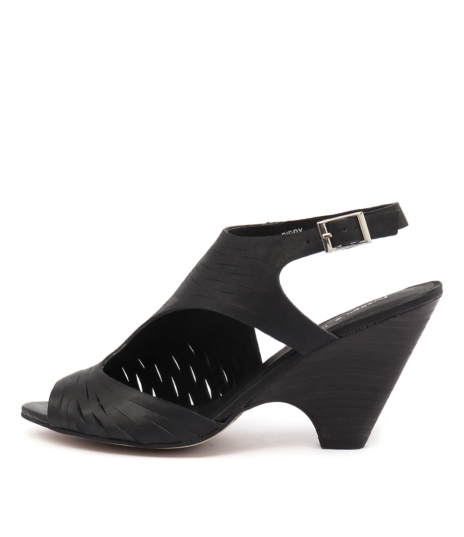 Django & Juliette Biddy Black Dress Heeled Sandals