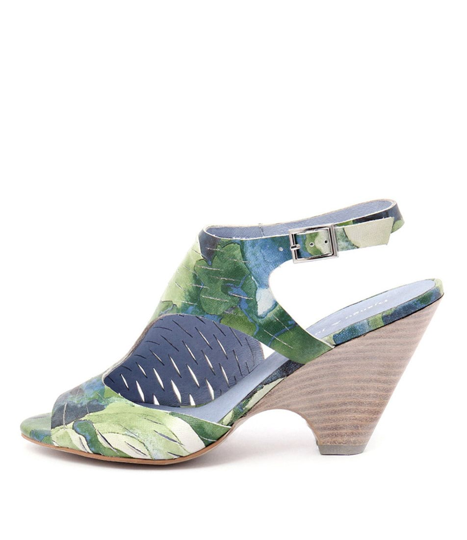 Django & Juliette Biddy Green Blue Multi Dress Heeled Sandals