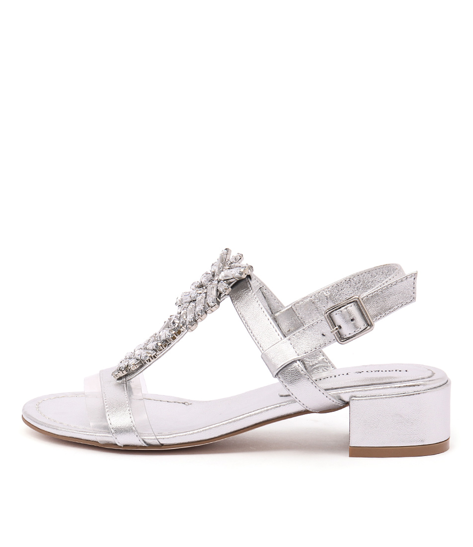 Django & Juliette Blooms Silver Silver Jewels Dress Heeled Sandals