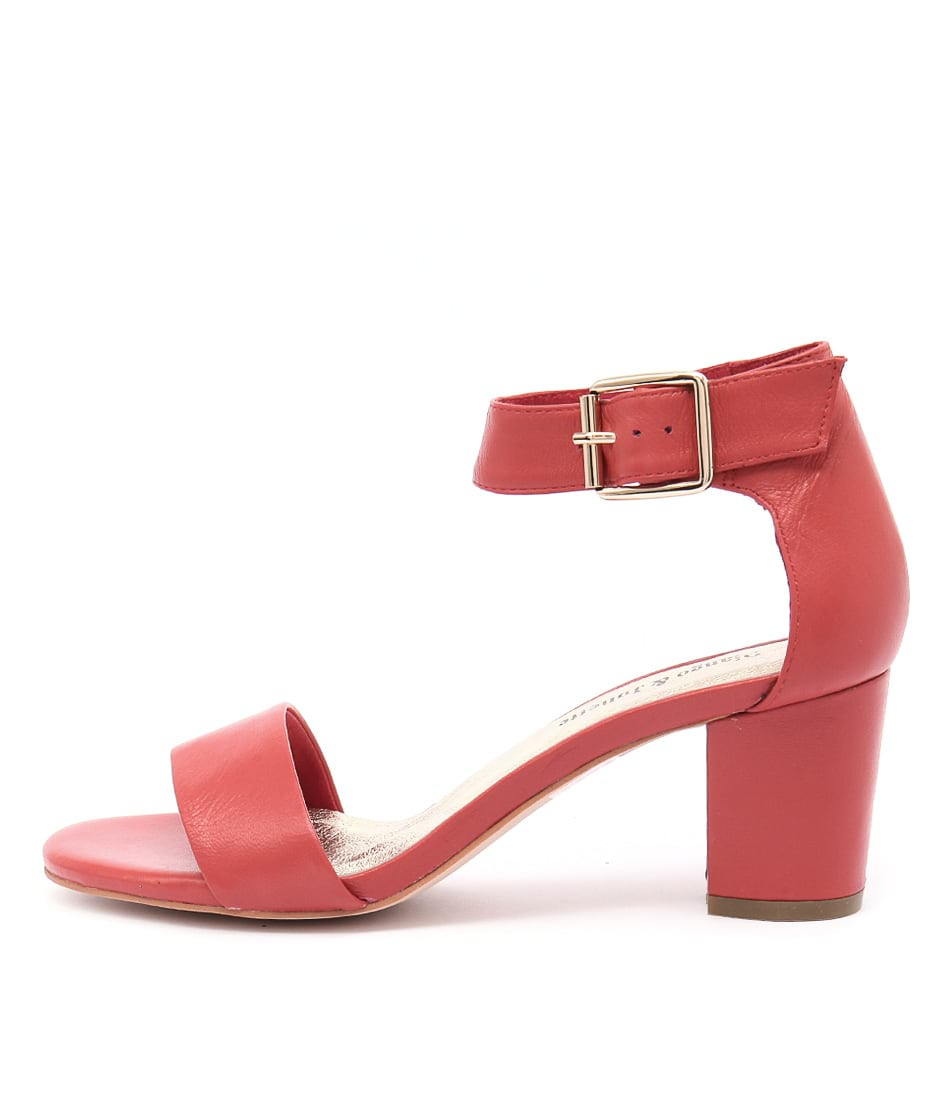Django & Juliette Cassier Red Casual Heeled Sandals