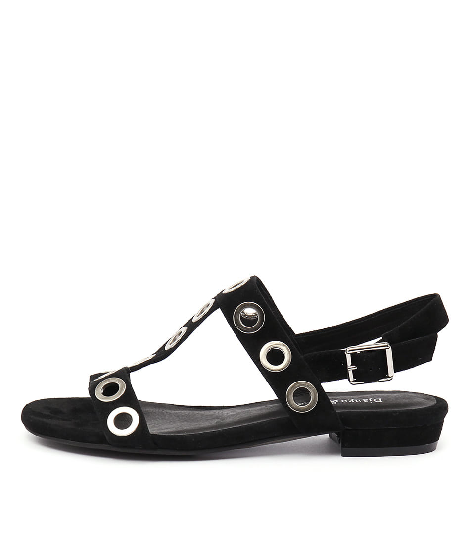 Django & Juliette Domino Black Flat Sandals