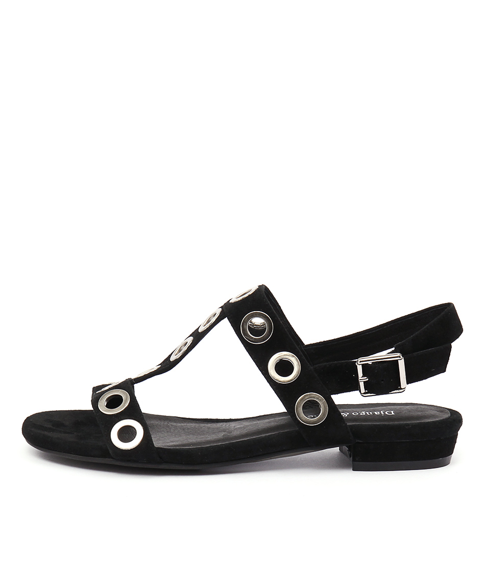 Django & Juliette Domino Black Casual Flat Sandals