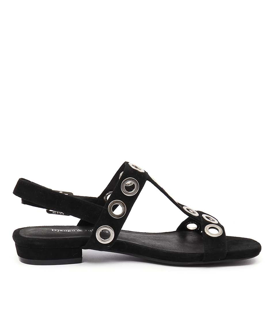 New Django & Juliette Domino Black Womens Shoes Casual Sandals Sandals Flat