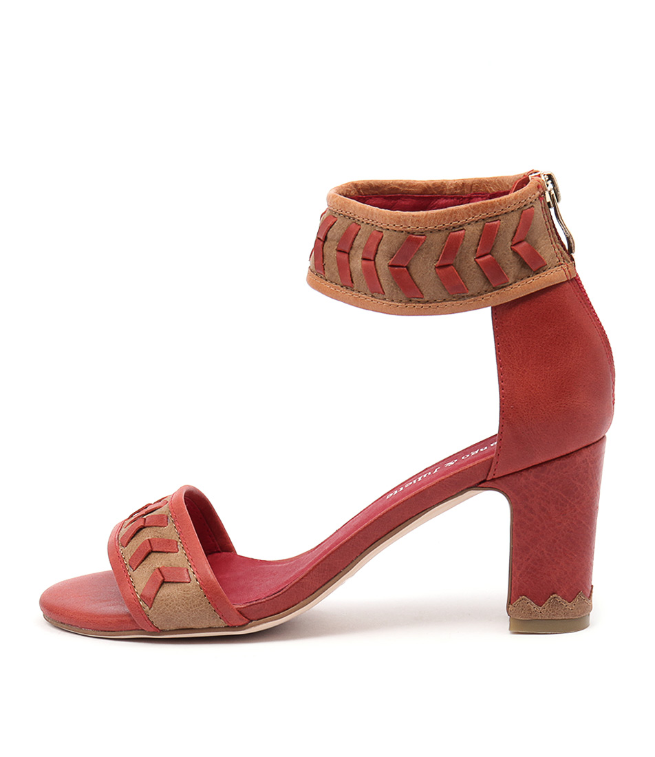 Django & Juliette David Red Multi Casual Heeled Sandals