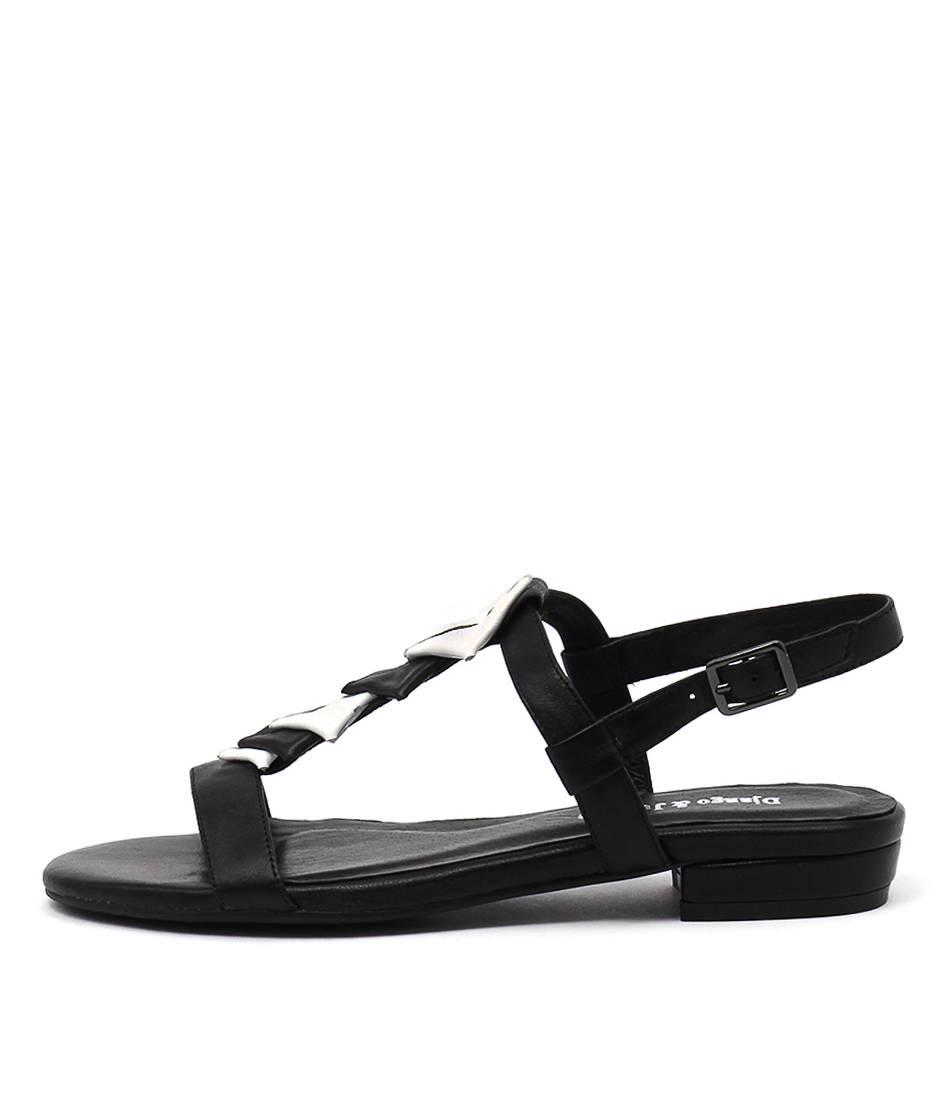 Django & Juliette Doinit Black White Casual Flat Sandals